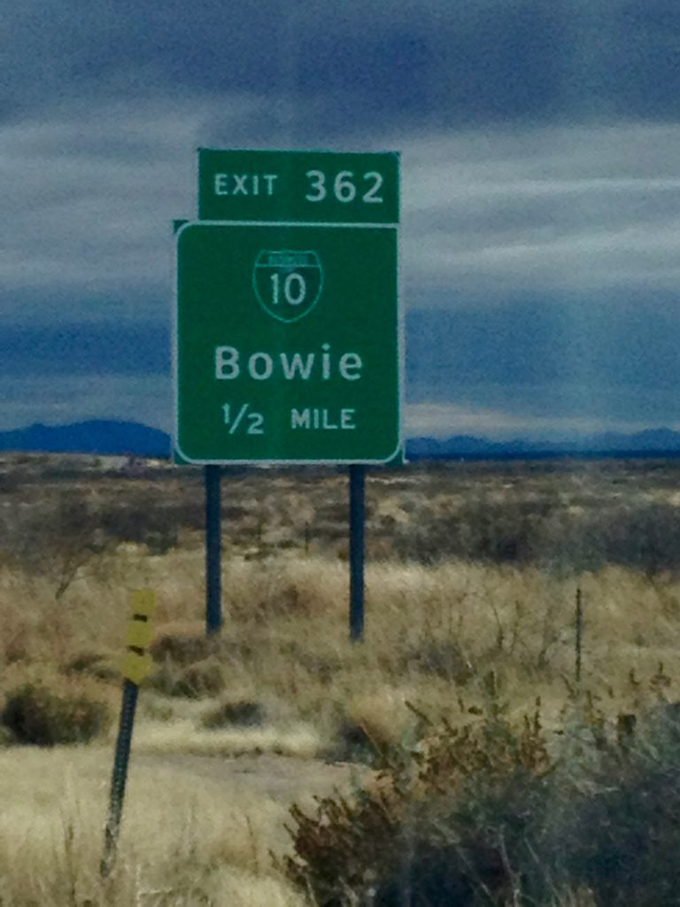 road sign for Bowie, AZ