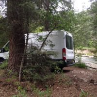 van in the woods