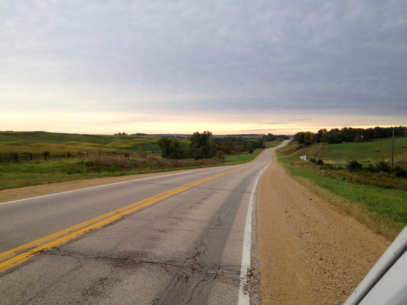 an empty road in Iowa