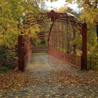 metal bridge with fallen leaves