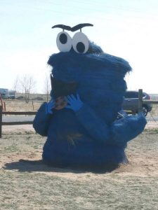 bale of hay made to look like the cookie monster